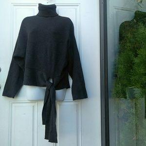 Zara Knit turtleneck Tie Sweater